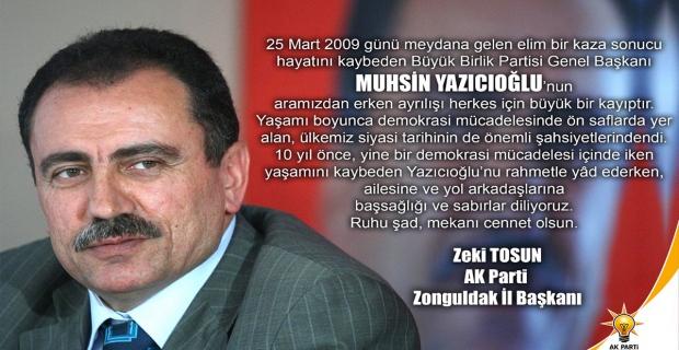 AK Parti, Muhsin Yazıcıoğlu'nu unutmadı...