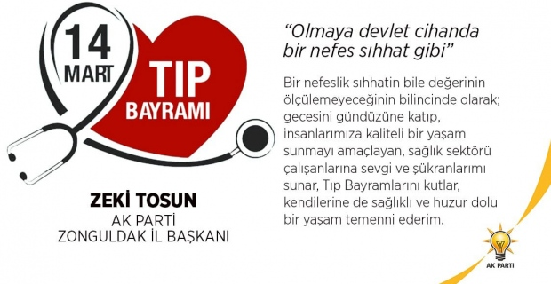 Zeki Tosun'un Tıp Bayramı mesajı