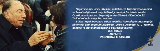 Başkan Tosun, Alparslan Türkeş'i unutmadı…