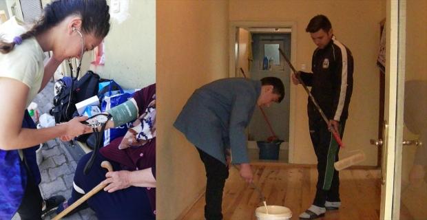 Meslek Lisesi öğrencileri, hasta ve yardıma muhtaç yaşlıların evini boyayıp, temizliyor