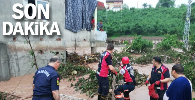 Zonguldak'ta dere taştı; evlerde mahsur kalanlar kurtarıldı