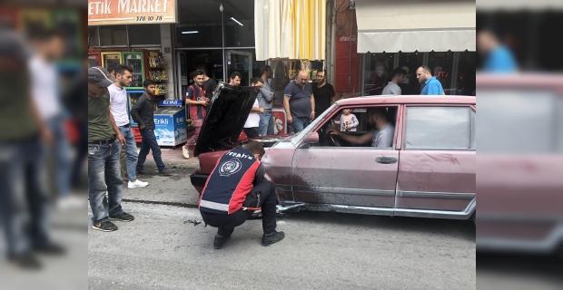 Alaplı'da hareket halindeki otomobil alev aldı