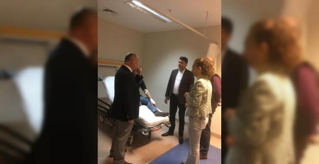 Kaymakam Çorumluoğlu, kazada yaralanan işçileri ziyaret etti