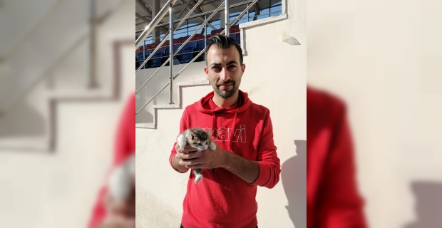 Atletizm antrenörü 2,5 metre derinliğindeki kuyudan yavru kediyi kurtardı