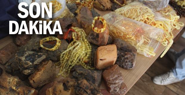 Zonguldak'ta piyasa değeri 500 bin TL olan 28 kilogram ağırlığında kehribar taşı ele geçirildi