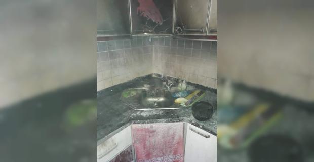 Mutfakta çıkan yangın korkuttu