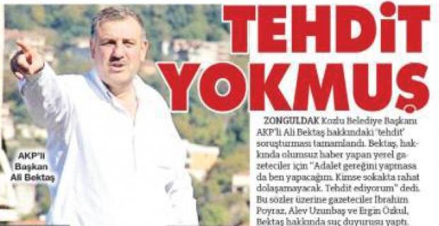 Ali Bektaş, Sözcü'ye manşet oldu