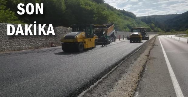 Sapça Tüneli ile Gökgöl Tüneli arası asfaltı başladı