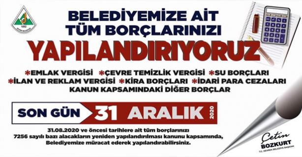 Devrek Belediyesi borçlulara çağrı yaptı