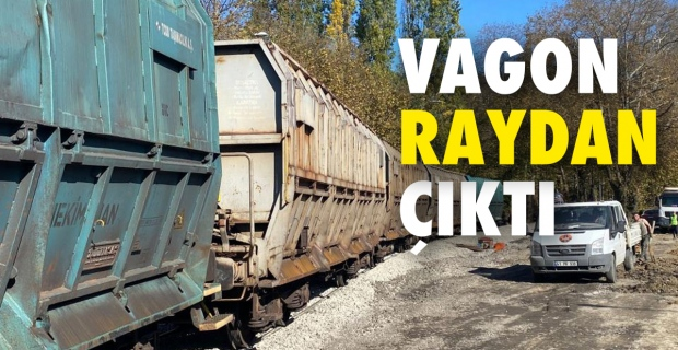 Kömür yüklü vagon raydan çıktı...