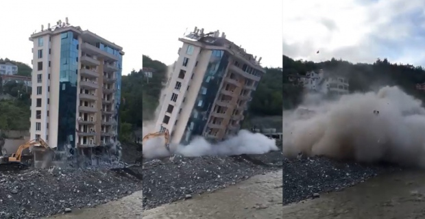 O müteahhidin bir apartmanı daha yıkıldı