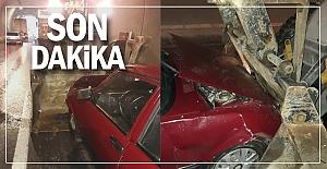 Flaş... Tünelde görünmez kaza: araç pert oldu!