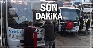 Otobüsleri Türk bayrakları ile donatıldı..