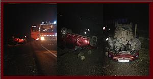 Trafik kazası. Taklalar atarak durabildi, Hastaneye kaldırıldı...