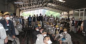 GMİS yönetim kurulu, Üzülmez 'de madenciye seslendi;