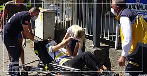 Motosiklet devrildi:1 yaralı