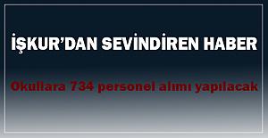 İŞKUR'dan Cuma müjdesi,  734 personel alınacak