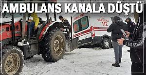 Kanala düşen ambulans kurtarıldı