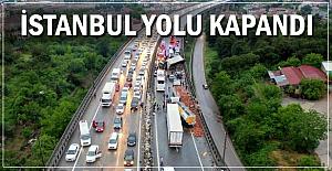 Zincirleme kaza; İstanbul yolu kapandı