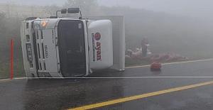 Enerji nakil hattı taşıyan kamyon kaza yaptı: 1 yaralı